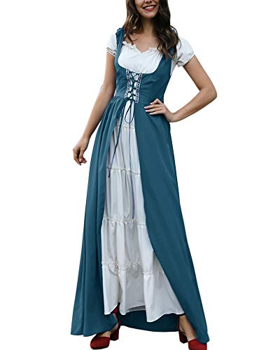 Dellytop Womens Retro Renaissance Medieval Dress Short Sleeve Peasant Dresses