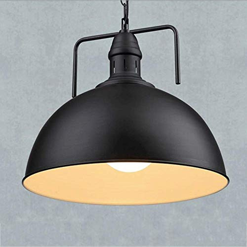 Chandelier Single Head Simple Industrial Wind Retro Light Barber Shop Lid Chandelier Wrought Iron - White Black With 7 Watts LED Default Warm Light Needs White Light Please Leave A Message(black-30cm)