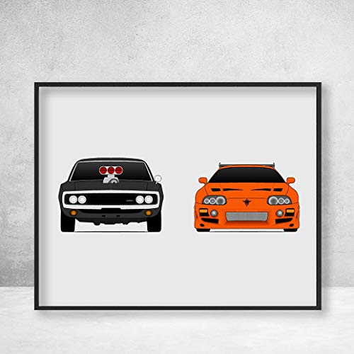 Fast and the Furious Dodge Charger and Toyota Supra MKIV, Dominic Toretto (Vin Diesel) Brian O'Connor (Paul Walker) Poster Print Wall Art Handmade ()