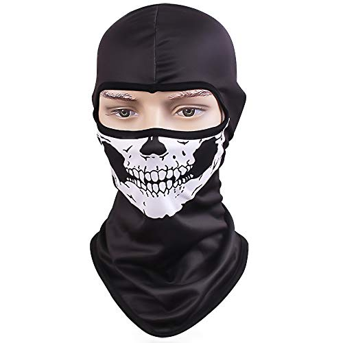 TClian Skull Mask Balaclava Ghost Skeleton Bandana Motorcycle Cycling Balaclava Full Face Masks UV Protective Quick Dry Breathable Military Tactical Airsoft Paintball Masks Halloween Mask (Skull-01)