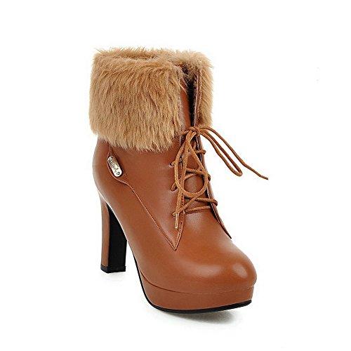 VogueZone009 Damen Stiletto Artifizielles Büffelleder Wasserdicht Plattform Stiefel, Silber, 38