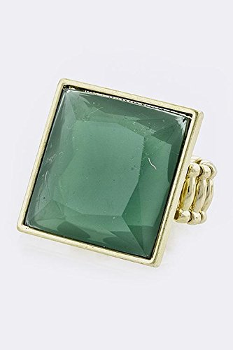 TRENDY FASHION JEWELRY SQUARE ACRYLIC RING BY FASHION DESTINATION | (Green) (Ring Coin Green Roberto)