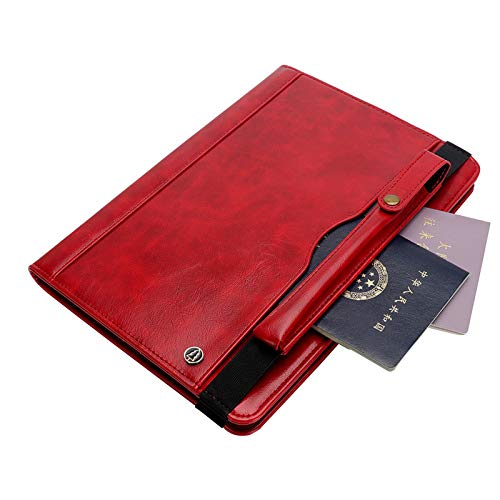 Galaxy Tab S3 Case with Pen Holder, TechCode Premium PU Leather Stand Protective Case Slim Smart Cover Multiple Viewing Angles Card Slot Tablet Pocket for Samsung Galaxy Tab S3 9.7 inch T820/T825, Red by TechCode (Image #6)