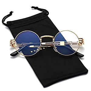 Dumok Round Metal Steampunk Vintage Circle Sunglasses DSR007 With Gold Frame/Clear Lens