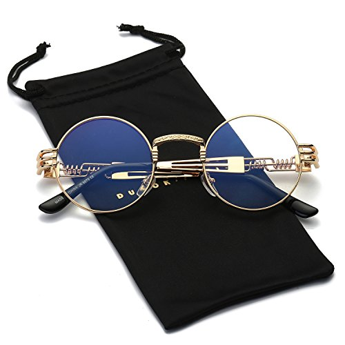 Dumok Round Metal Steampunk Vintage Circle Sunglasses DSR007 With Gold Frame/Clear -
