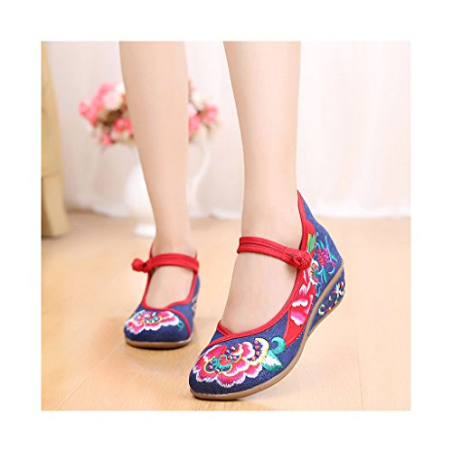 Old Beijing Cloth Shoes National Style Embroidered Shoes Slipsole Slipsole Slipsole Square Dacne Mom Shoes Woman blue B01CZN6KS0 Shoes 7b9983
