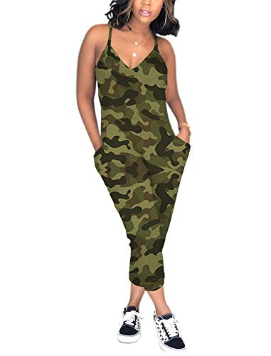 QUEENIE VISCONTI Women's Summer Jumper Racerback Camouflage Print One Piece Romper Harem Pants Overalls Jumpsuits L