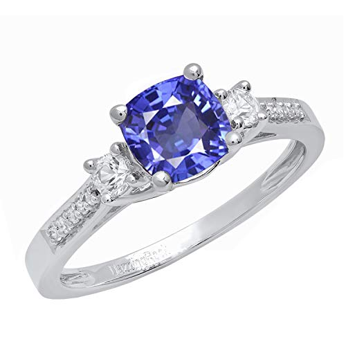 Dazzlingrock Collection 10K 6 MM Cushion Tanzanite, Round Sapphire & Diamond Ladies 3 Stone Ring, White Gold, Size ()