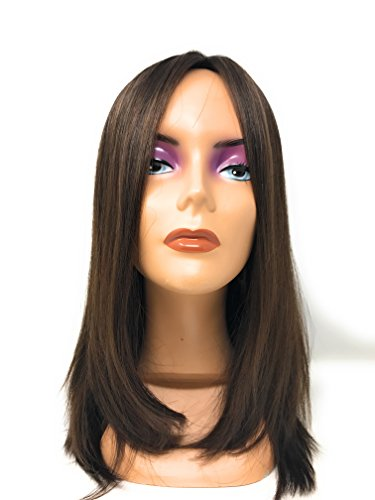 Custom Wefted Mazali Topper™- French Top Human Hairpiece with Straight Hair - 14 Inches Long by Fortune