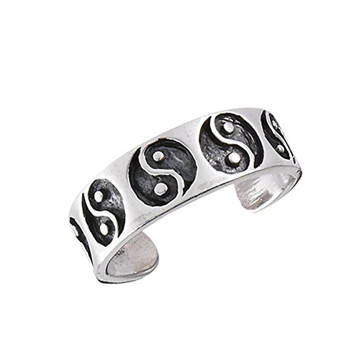 - Midi Yin Yang Balance .925 Sterling Silver Oxidized Energy Toe Ring Band