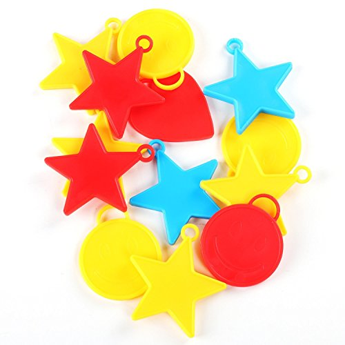 - TRIXES Helium Balloon Weights 25PC Assorted Shapes and Colours Stars Hearts Smiley Faces for Kids Parties