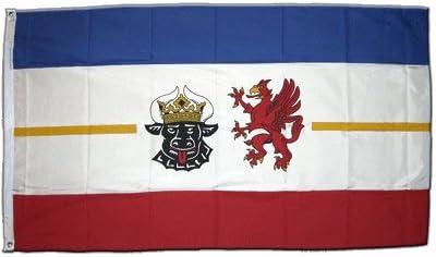 Bandera de Mecklemburgo Pomerania Occidental XXL 150 x 250 cm: Amazon.es: Deportes y aire libre