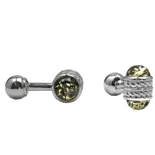 Green Amber Sterling Silver Celtic Designer Cuff Links ()
