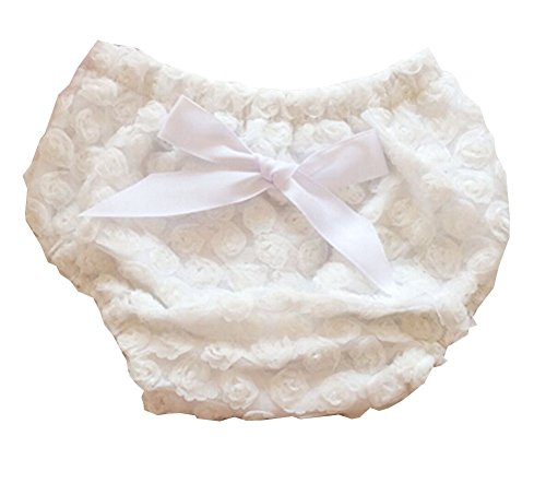 Luckyauction Baby Infant Girls Cotton Rose Bownot Panties Briefs Bloomer White (White Ruffled Bloomers)