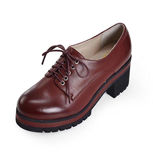 La versión coreana de zapatos de plataforma/Zapatos de mujer/Los tacones altos plataforma en el otoño/Encaje de zapatos casual B