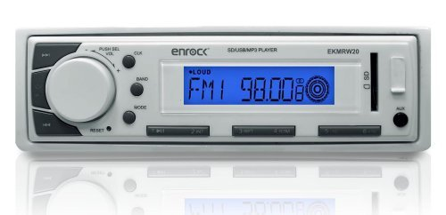 Enrock EKMR20WT Aqua Series Marine In-Dash Receiver with AM/FM Radio and AUX Input for iPod/MP3 Players and SD/USB Flash Readers (White) by Enrock