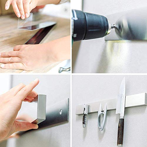 YANGMAN Wall Magnetic Knife Holder,Multi-Purpose Functionality As A Knife Holder Knife Strip Knife Rack Magnetic Tool Organizer 40 cm Stainless Steel Bar (Silver) by YANGMAN (Image #4)