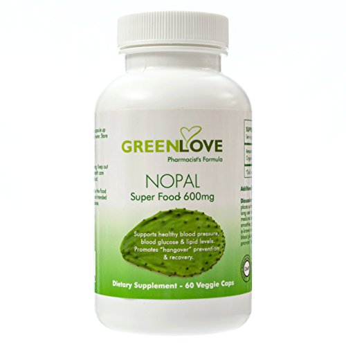 GreenLove ORGANIC Nopal Prickly Pear Cactus Superfood Supplement (60 Capsules) Hangover Cure, Prevention and Relief | Certified Organic & Natural | Healthy, Herbal Balance