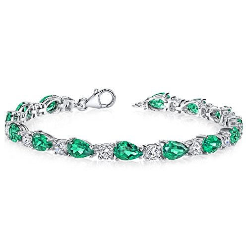 13.00 carats Pear Shape Simulated Emerald Bracelet in Sterling Silver Rhodium Nickel Finish