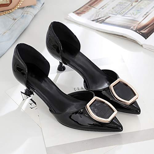 Fine Gato Seasony tacón de Punta Solo alto Wild Y 39 De Mujeres Tacón Negro 5Cm Yukun Y zapatos De con Black Zapatos Blanco Alto q86AwWFn