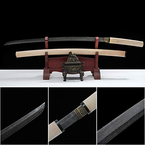 Yongli Sword Ancient Handmade Katana Japanese Samurai Straight Sword Sharp Edge Damascus Folded Steel Antique Blade