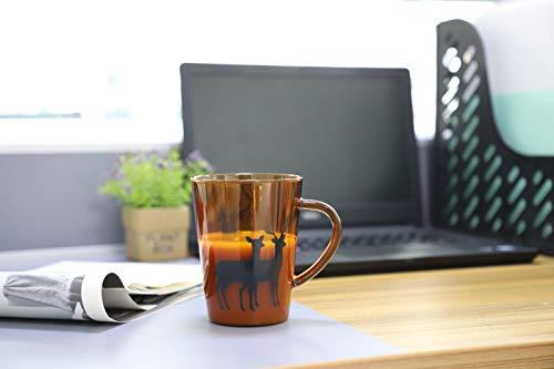 (Doctor Bee 13.5oz Christmas Large Glass Coffee Mugs for Drinking Tea Latte Espresso Juice Water Milk Elk Deer Amber Set of 2 )