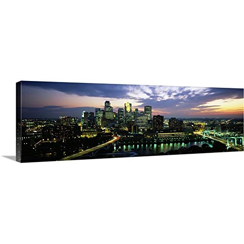 "Canvas on Demand Premium Thick-Wrap Canvas Wall Art Print Entitled Buildings Lit up at Dusk, Minneapolis, Minnesota 36""x12"""