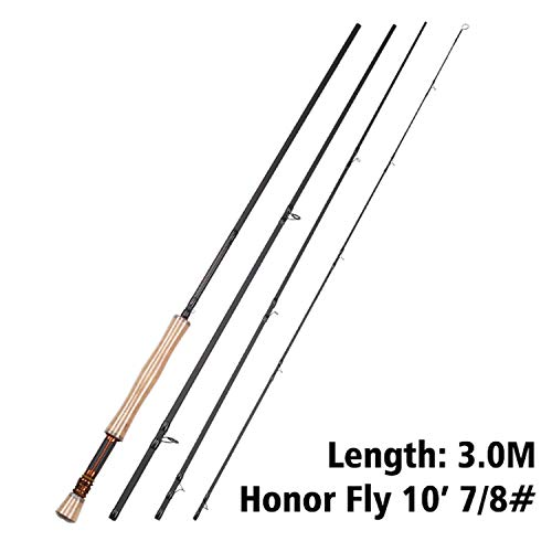 - Fly Rod Honor 6/7/9/10FT 4 Sections Fly Fishing Rod Ring Carbon Fiber Rod Medium Fast Action River Fishing,Chocolate