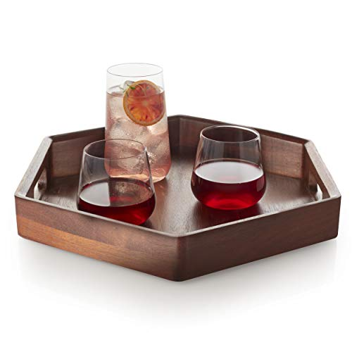 Libbey Urban Story Wood Serving Tray with Handles, -