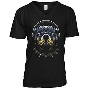 Blittzen Mens V-neck Cool Customer Dog Headphone Sunglasses, S, Black