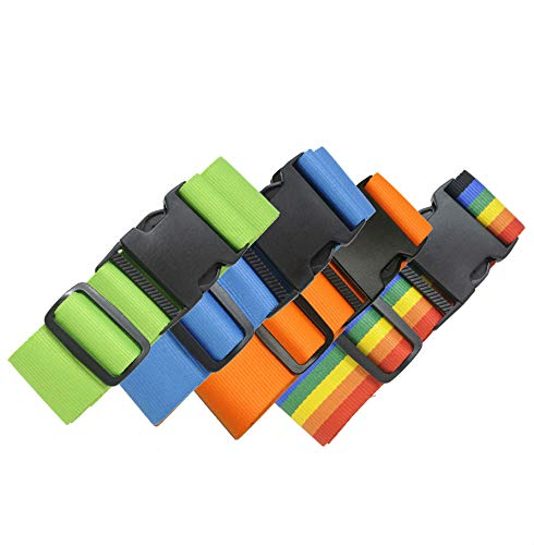 4 Pack Luggage Straps Set Suitcase Belts Neon Luggage Tags Set Neon Luggage Strap TSA Approved Carry On Luggage Tag (Assorted 4 Pack) by Voltage Valet