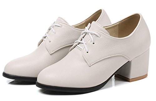 Aisun Womens Simple Round Toe Dressy Wear To Work Office Mid Block Heel Lace Up Pumps Shoes Beige B7p62d