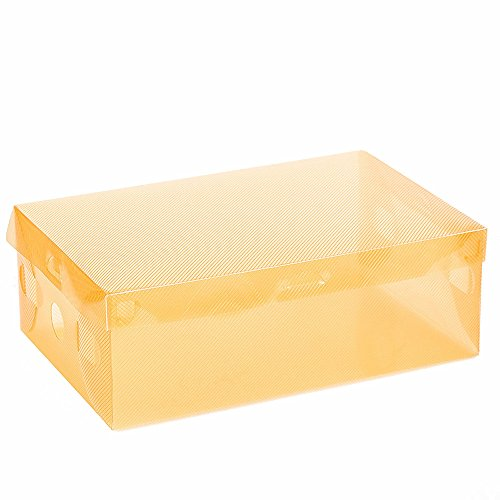 Excursion Home Foldable Plastic Shoes Boxes, Transparent Stackable Tidy Storage Organizer, Dustproof Practical Shoes Packing Bags, Practical Luggage Accessories (Orange)