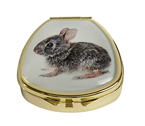Hiutong Baby Cottontail Bunny Rabbit Custom Fan Shape Gold Glass Pill Case Decoration Metal Medicine Vitamin Tissue Unique Gift