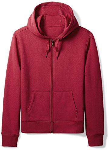 Amazon Essentials Men's Full-Zip Hooded Fleece Sweatshirt, Red, Medium