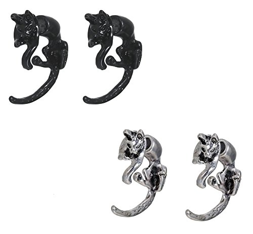 3D Earrings, 2 Sets, Double Sided Studs (Kitty Cat)
