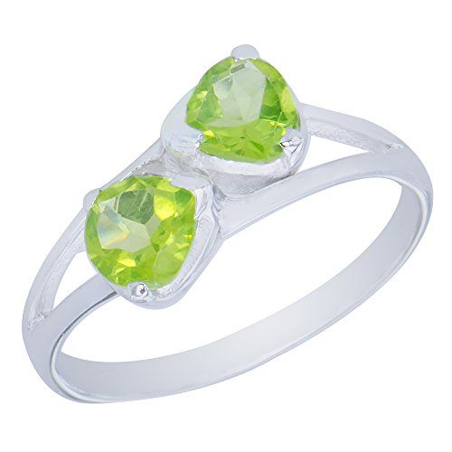 - Gorgeous Genuine Bow Natural Peridot Gemstone Sterling Silver Trilliant Shapes Jewelry Womens Ring