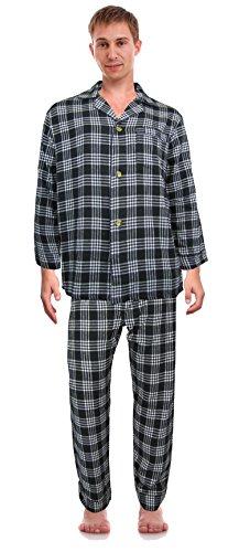 - RK Classical Sleepwear Men's 100% Cotton Flannel Pajama Set, Size Medium Black