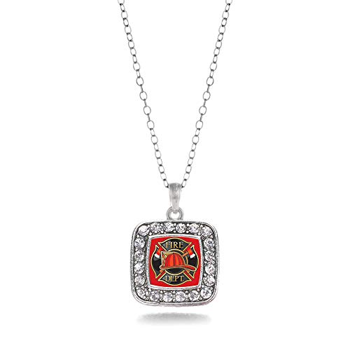 Inspired Silver - Fire Department Badge Charm Necklace for Women - Silver Square Charm 18 Inch Necklace with Cubic Zirconia Jewelry ()