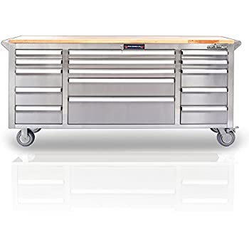 72 wide 15 drawer stainless steel anti fingerprint tool chest with work station. Black Bedroom Furniture Sets. Home Design Ideas