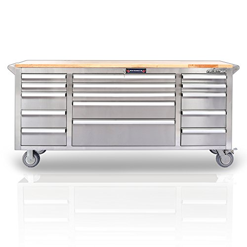 Stainless Steel Working Station Roller Cabinet - 72inch heavy duty, 15 drawers with ball bearing slides, Frontier qualified, Max loading: 1000LBS, moveable workbench, wooden working top ()