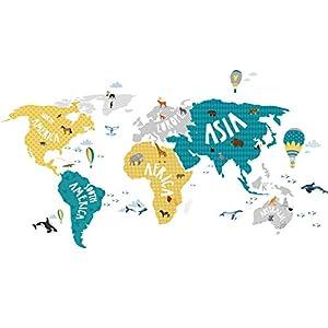 Little Deco Tatuaje de pared Mapa del mundo Animales gris turquesa amarillo I (An x Al) 80 x 42 cm I Pegatina de pared Habitación infantil Cartel adhesivo para niños DL128