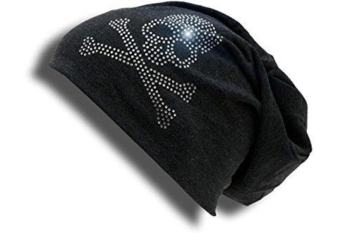 Long Beanie Slouch Mütze mit Totenkopf - USA Flagge Strass Stern Applikation