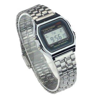 Classic Retro Digital Watch for Men Women Unisex Stainless Steel Alarm Stopwatch ~ Reloj Digital Clásico
