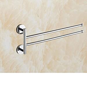 Full rotating copper towel rack/Bathroom towel rod/Single pole double bathroom towel/Three rotating Cup holder-A well-wreapped