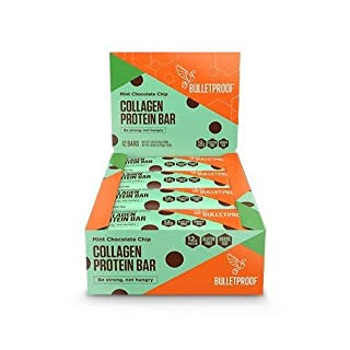 Bulletproof Collagen Protein Bars, Perfect Healthy Snack for Keto Diet, Paleo, Gluten-Free, Non-GMO, Made with Pure MCT Oil, for Men, Women, and Kids (Mint Chocolate Chip) (12 Pack)