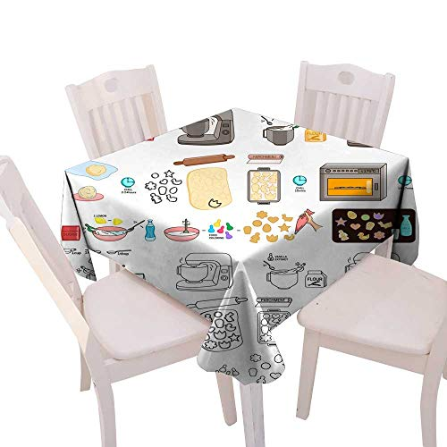 lecloth Recipe Easter Cookies DIY Instruction Vector DIY Instruction Manual Including Sketch Square Tablecloth W 50