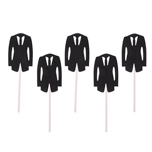 (Homyl Pack of 5 Bridal Dress Groom Tuxedo Cake Topper Plastic Picks for Wedding Birthday Party - Black Tuxedo, as described)