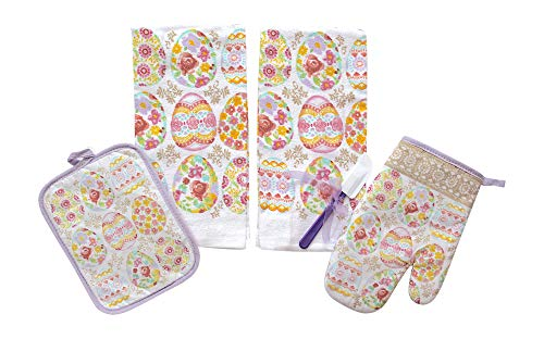 (Easter Spring Kitchen Dish Towels Pot Holder Oven Mitt Set, 5Pc.: Colorful Printed Eggs on Light Purple Background)