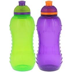 Sistema Lunch Twist 'n' Sip Water Bottle, Green/Purple, 11 oz.